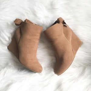 Blush Pink Wedge Ankle Booties w/ Bows